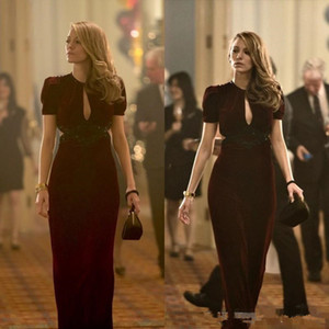 2020 Burgundy Blake Lively Dresses Age of Adaline Film Sheath Sexy V Neck Short Sleeve Keyhole Neck Long Formal Dresses Party Evening Gowns on Sale