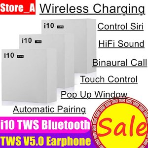 Wholesale i10 TWS Wireless Charging Bluetooth V5 White In Ear Earphones Earbuds Headset with Charging Box for iPhone android