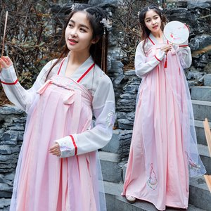 Wholesale Chinese Folk Dance Costumes Pink Hanfu Women Embroidery Fairy Dress Festival Outfit Rave Performance Clothing DC2722