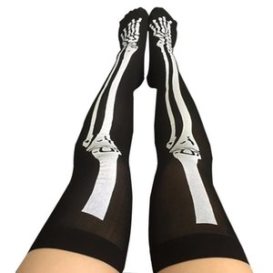 Wholesale Funny Cosplay Props Skull Over The Knee Stockings Halloween Costume Blood Forked Bone Pattern Women Cosplay Terror Blood Socks