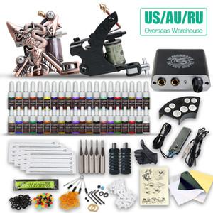 Wholesale Tattoo Kit 2 Machine Guns 40 Color inks Power Supply & power cord tube tip needles HW-10GD