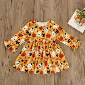 Wholesale 1 years baby halloween makeup skirts Pumpkin goast Printed newborn baby holidays costume dress kids long sleeve clothing