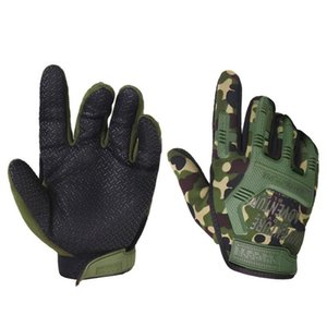 Wholesale Full Finger Cycling Gloves Sports Anti Slip Gel Pad Motorcycle MTB Road Bike Bicycle Winter Camouflage Army green Black Glovesr