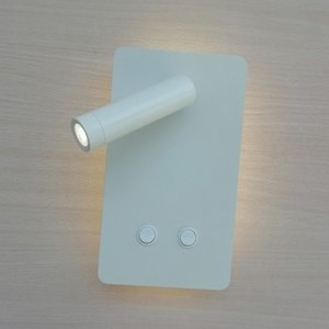 Topoch Wall Lights for Bedroom Integral Backlight 6W and Reading Light 3W Double Switched Matte Black White Horizontally or Vertically Mount