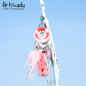 Wholesale Artilady boho tassel keychain handmade bag charm horn key holder feather key chain women jewelry gift dropshipping
