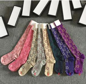 Wholesale Hot sale Top quality size free colors g gc women golden gold silk stockings letter jacquard luxury ladies leggings sexy socks with box