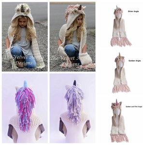 AMUSE 2 in 1 unicorn scarf cap Large size Kids Infant Llama Warm Knitted Hats Children cartoon warmer Winter crochet Hat LJJA1013