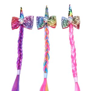 Wholesale Children s party Unicorn Hairpin Rainbow Wig Pigtail Multi color Sequined bow Hair Clip Fashion Barrette hair accessories