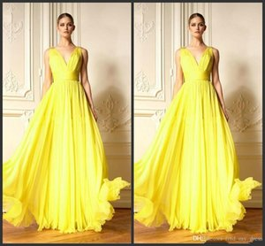 Sexy Yellow Chiffon Prom Dresses V-Neck Pleats Ruched Chiffon Floor Length Formal Dress Party Gowns Evening Dress For Women Vestidos on Sale