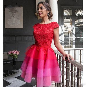Colorful A Line Lace Top Homecoming Dresses Jewel Neck Cap Sleeve Tiered Tulle Skirt Cocktail Party Dress Sheer Back Special Occasion Dress on Sale