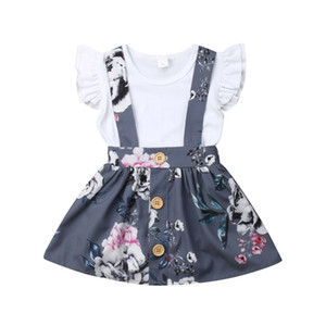 ingrosso ragazze vestiti floreali insiemi-Toddler Kids Baby Girl Summer Princess Set Months Cotton Clothes Ruffle Flying Sleeve Pagliaccetto Floral Strap Skirt Outfit