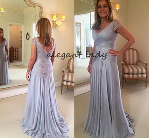 Wholesale Silver Lace Chiffon Mother of The Bride Groom Dresses Plus Size V neck Plus Size Low Back Full length Mother Formal Occasion Gown