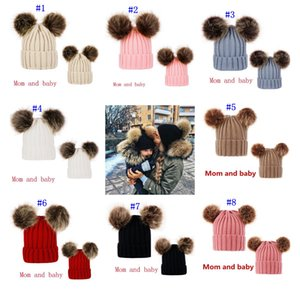 Wholesale Knitting Warm Hats With Double Fur Ball Pop Winter Beanie Hats Mom And Baby Family Matching Crochet Caps MMA2508