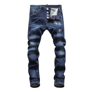 Wholesale hot Men Ripped Denim Tearing Jeans Navy blue Cotton fashion Tight spring autumn Men s pants A8059