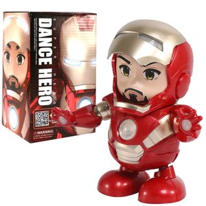New Hot Avenger Steel Machine Man Dancing Robot Light Electric Music Toy Marvel Series Electric Iron Man Robot children gifts