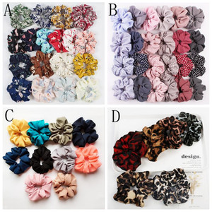 Wholesale Large intestine hair Bands Floral Flamingo Design Hair bows Leopard print Flower Headwear Elastic Stripe Hairbands Styles LXL300