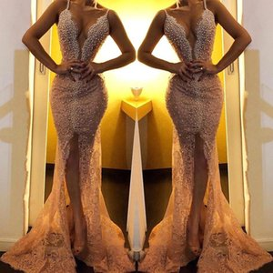 Elegant Spaghetti Straps Lace Mermaid Prom Evening Dresses Split Floor Length Lace Beaded Pearls Plus Size Evening Gowns on Sale