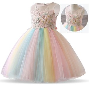 Wholesale Flower Dresses for Girls Dress Lace Emboridery Rainbow Baby Girl Wedding Gown Party Frocks Vestidos Children Clothing