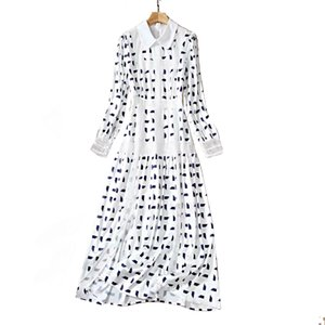 Wholesale line stars for sale - Group buy Spring star with the same lapel long sleeved stitching print dress