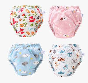 Wholesale baby cloth diapers cartoons for sale - Group buy 23 Colors Baby Diaper Cartoon Print Toddler Training Pants Layers Cotton Changing Nappy Infant Washable Cloth Diaper Panties Reusable M795