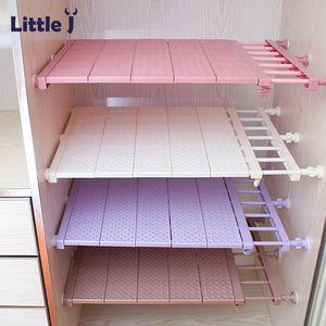 Adjustable Closet Organizer DIY Wardrobe Space-saving Rack Shoe Racks Wall Mounted Kitchen Storage Rack Bathroom Organizer Shelf T200319