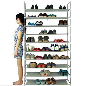 SONYI Shoe Tower Rack 10 Tier Space Saving Storage Organizer 50 Pair Shoe Free Standing Fabrics Gray
