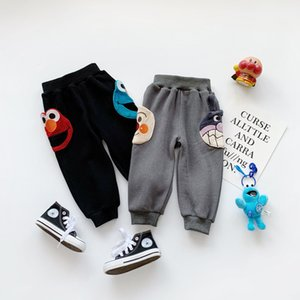 Wholesale Children's casual pants 2019 autumn and winter fashion high-end new children plus velvet silver fox cartoon casual trousers