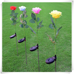 Wholesale Outdoor Landscape Fasion Stylish Decorative Night Light Solar Lights Rose Flower Solar Powered LED Stake Light for Yard Garden Pathway
