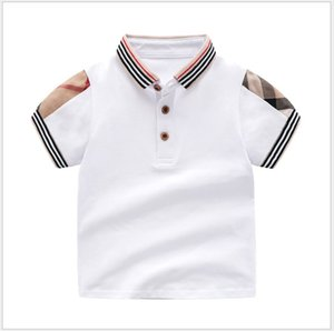 Wholesale white unisex baby clothes for sale - Group buy Retail Summer Baby Boys Girls T shirts Cotton Kids Short Sleeve T Shirt High Quality Children Turn down Collar Plaid T shirt Kids Clothing