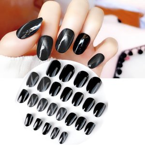 Wholesale 24Pc Set Black Cat Eye Fake Nails Oval Short Artificial Nail Tips Blue Rhinestone Phototherapy Full Cover False Nail Faux Ongles