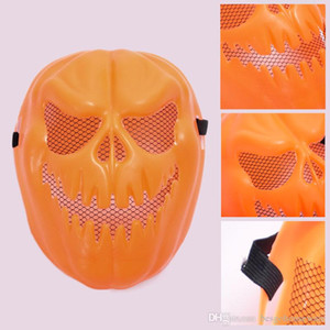 Wholesale pumpkin face mask resale online - Halloween Pumpkin Mask Party Cosplay Face Plastic Mask Full Face Cosplay Masks Halloween Terror Props CM Funny Masks BH2415 TQQ