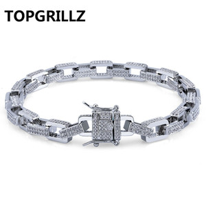 "TOPGRILLZ Hip Hop Men Jewelry Bracelet Copper Gold Silver Color Plated Iced Out Micro Paved CZ Stone Box Chain Bracelets 18"" 22"" SH190925 on Sale"