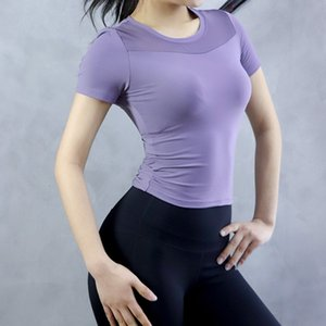 Gauze Sexy Motion Jacket Woman Short Sleeve Speed Do Gym T Pity Run Half Sleeve Elastic Force Tights Yoga Serve