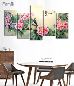 Wholesale 5 Panels Ancient Chinese Brush Painting Print Canvas Lotus pond Koi Art Picture For Living Room Study Wall Decors No Frame
