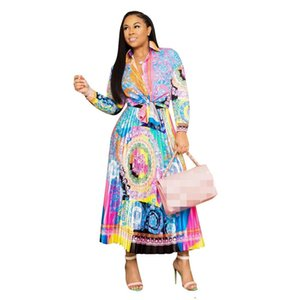 Wholesale 2019 Autumn Latest Fashion Floral Printing Women Two Pieces Dresses Suits Long Sleeves Turn Down Neck Shirt Pleats Skirt Sets