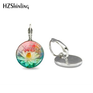 Wholesale 2019 New Fashion Red Mandala Hook Earrings Hand Craft Womens Glass Jewelry Meditation Earrings Vintage Glass Dome Earring