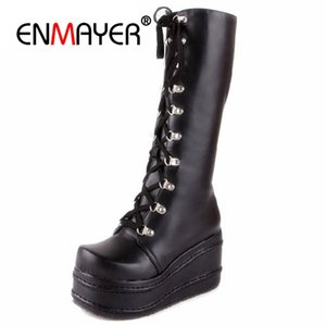 Wholesale ENMAYER Motorcycle Boots Gothic Punk Shoes Cosplay Boot Knee High Heel Platform Sexy Lace up Winter Wedges Knee High Boots CR676