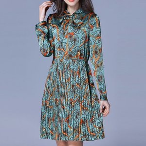Wholesale Plus Size Print Chiffon Bow Collar Long Sleeve Tunic Pleated Dress Women Elegant Office Party Fashion Beach Dress Lady Clothing