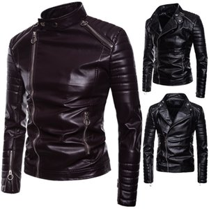 Trend Men's 2019 Autumn and Winter New European and American Style Men's Diagonal Pull Leather Lapel Motorcycle Leather Jacket Wholesale on Sale