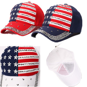 Wholesale Make America Trump Rivet Caps Diamond Bling Star Flag Baseball Ball Cap Travel Beach Sun Hat Party Hats Hip pop Street Snapbacks C71101