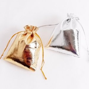 7x9 cm Gold Cloth Gift Bag Jewelry Wrap Party Bags Wedding Favors Valentine's Day (2.75 inch x 3.5 inch)