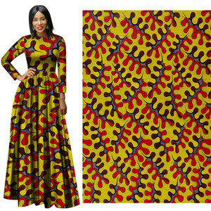 Wholesale new African national costume plant printing cotton fabric batik cloth good quality and price factory direct sales