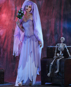 Wholesale New Halloween HOliday Corpse Bride Scary Cosplay Costume Ghost Bride Masque Party Costumes Stage Performance Dress