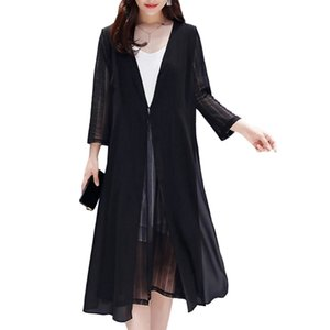 Wholesale 2019 Bikini Beach Cover up Swimsuit Air Conditioning Summer Sun Protection Clothing Chiffon Cardigan Coat Plus Size Swimwear