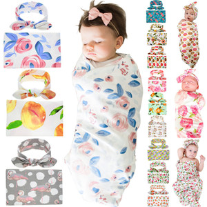 Wholesale 32 styles Kids Muslin Swaddles Ins Wraps Blankets Nursery Bedding Newborn Cotton Floral Print Swaddle Headband sets C445