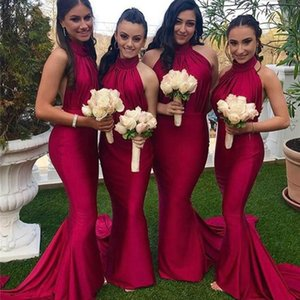 Wholesale bridesmaids dresses designs resale online - New Design Sexy Red Bridesmaids Dresses Halter Neckline Backless Mermaid Women Formal Long Party Dresses