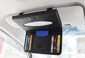 Wholesale Car Tissue Box PU Leather Sun Visor Type Tissue Boxes CD Card Holder Napkin Holder Auto Interior Accessories