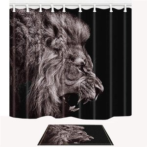 Wholesale Black Shower Curtain Set Forest Animal Lion Bathroom Decor Design Polyester Plastic Fabric x Inches with Hooks and Anti Slip