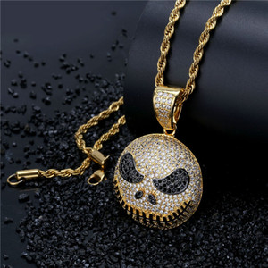 Wholesale christmas emoji for sale - Group buy New Arrived Emoji Jack Skellington Face Gold Pendant Necklace Iced Out Full Zircon Mens Gold Chain