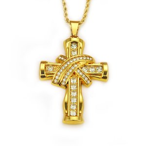 Wholesale 2019 Luxury Rhinestone Crystal Cross Pendant Necklace Hip Hop Jewelry Iced Out Bling Chain Charm Necklaces Mens Women Birthday Gifts M082F